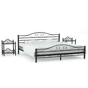 STRUCTURE DE LIT Cadre de lit avec 2 tables de chevet Noir en Métal