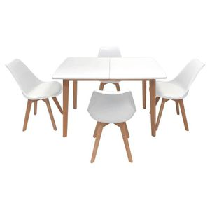 Ensemble Table Extensible 160 200cm Et 6 Chaises Scandinave Noir