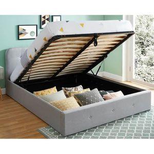 STRUCTURE DE LIT Lit coffre 140x190cm gris clair avec tête de lit c