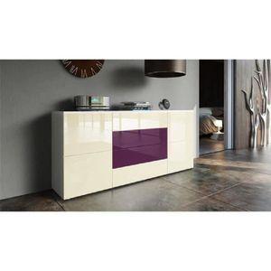 BUFFET - BAHUT  Buffet blanc mat et façade violet  et  crème laqué