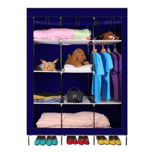 ARMOIRE DE CHAMBRE Bleu - Pliante Armoire de Vêtements avec cadre dur