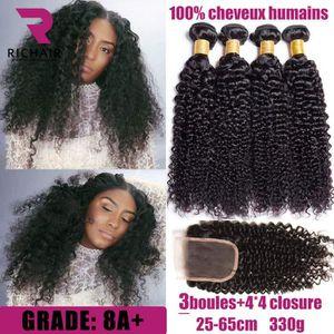 PERRUQUE - POSTICHE 4 Tissage Bresilien Avec Lace Closure Virgin Hair