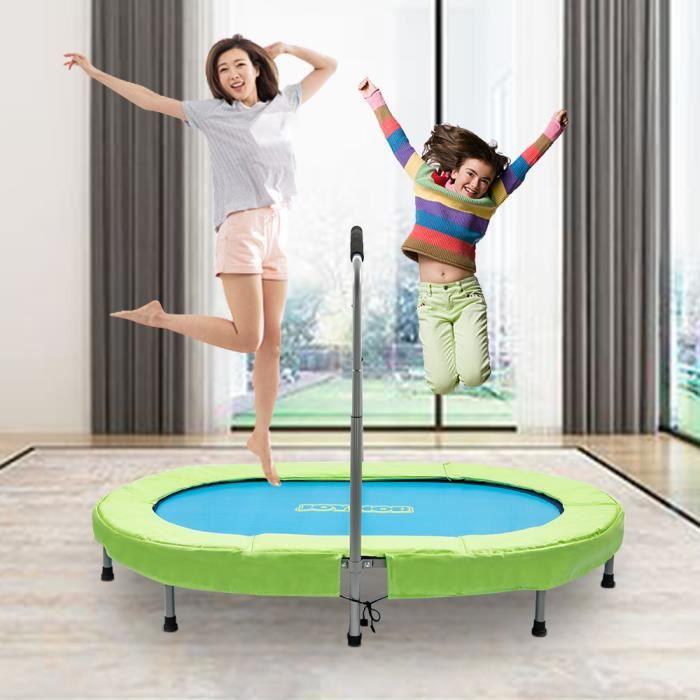 Trampoline Ovale 142*92*128cm pour l'exercice Aérobie à la Maison ou extérieur Maximale 100 Kg Bleu et Vert