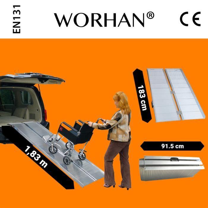 WORHAN® 1.83m Rampe Alu Pliable Valise Aluminium Pour Fauteuil Roulant Chargement Scooter Plate-Forme Aluminium Anodisé 183cm R6
