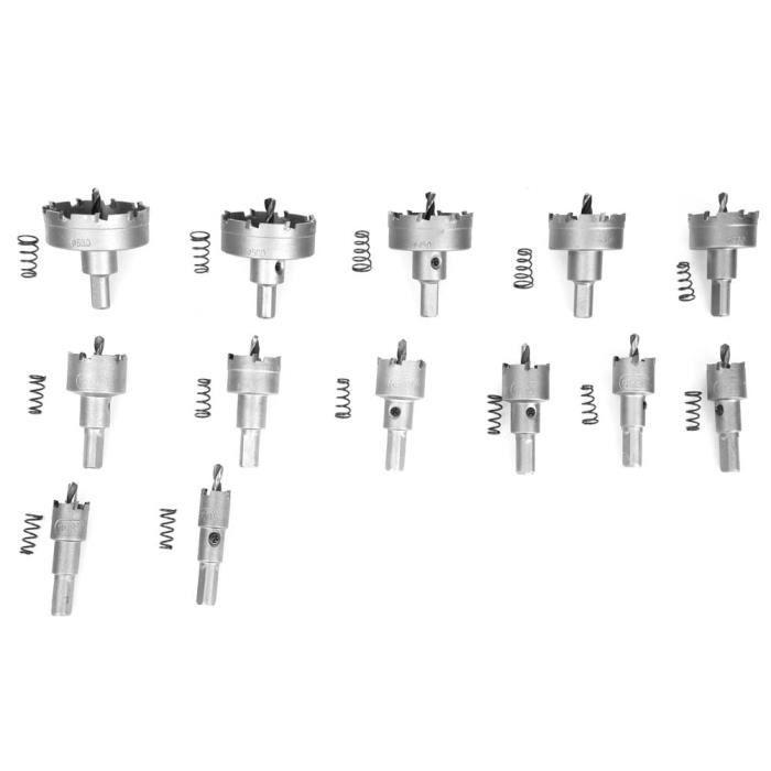 ZJCHAO 13 pièces en alliage de forets de scie cloche 16-18-20-22-25-26-28-30-35-40-45-50 - 53mm pour plaque métallique