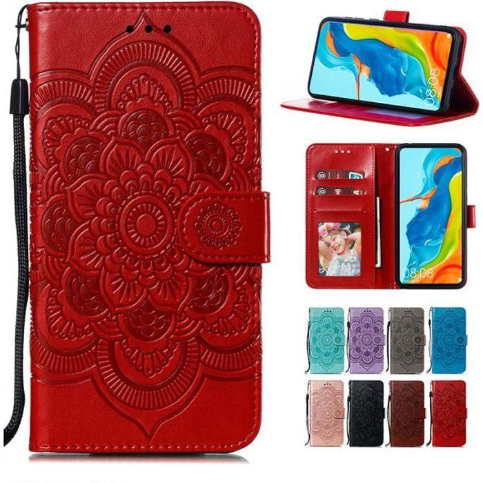 Coque Huawei P Smart (2020), Mandala Fleur Folio Cuir Porte-cartes avec Support et Dragonne Antichoc Protection (Rouge)