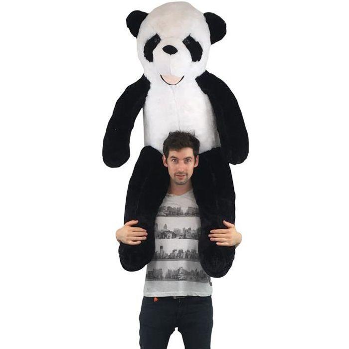 Peluche panda géante 130 cm ultra moelleuse et très douce, idéal en cadeaux de mariage, baptême ou anniversaire