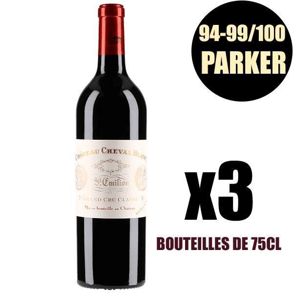 X3 Château Cheval Blanc 2012 75 cl AOC Saint-Emilion Grand Cru 1er Grand Cru Classé A Rouge Vin Rouge
