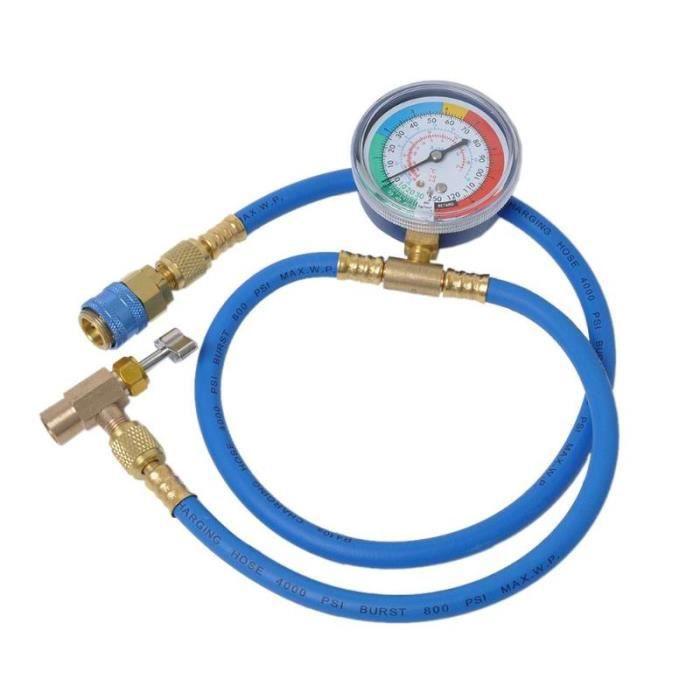 VODOOL voiture climatisation R134A réfrigérant tuyau de Recharge avec manomètre Kit de mesure cuivre Auto voiture [5234011]