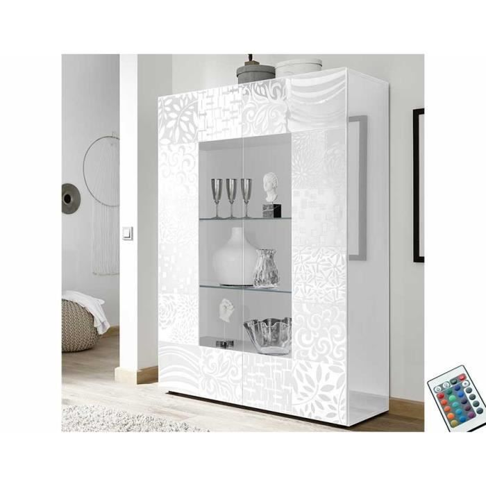 Vaisselier lumineux design blanc laqué 120x170 cm ELMA Blanc