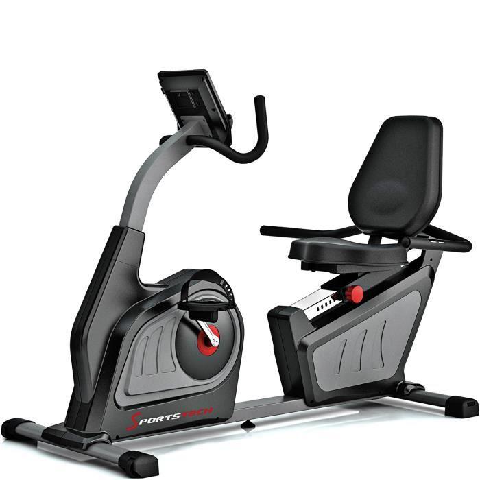 Vélo d'appartement semi allongé ES600 ergomètre magnétique exercice fitness professionnel cardio poids inertie 14 kg bluetooth