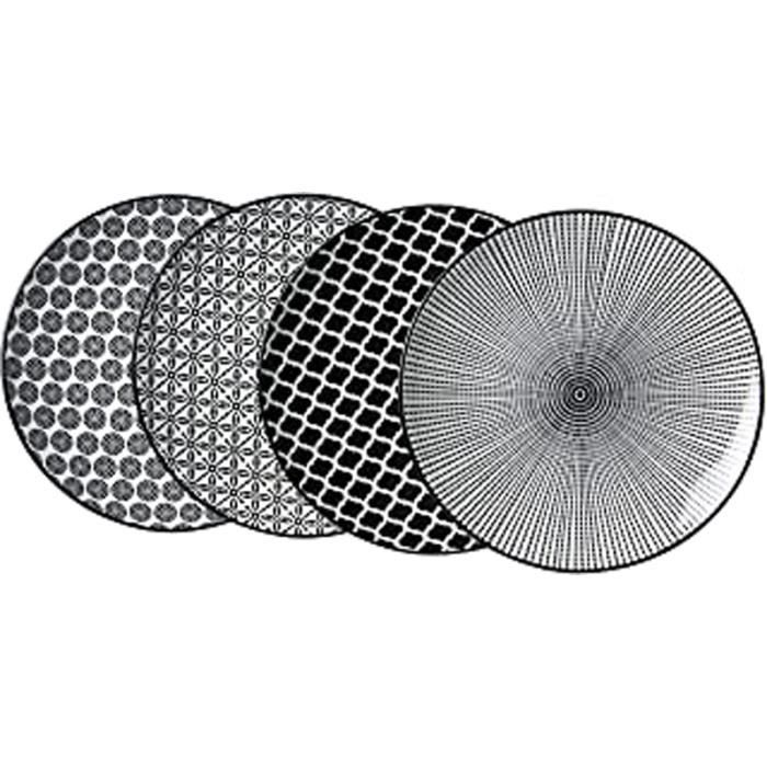 & Breker Lot De 4 Plaques De Service Porcelaine, Blanc Et Noir, 27 X 27 X 2 Cm