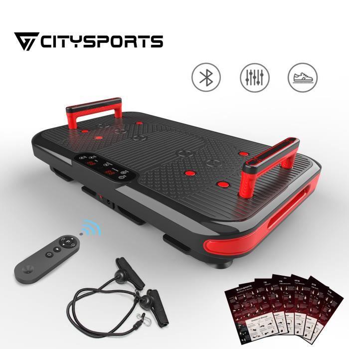 CITYSPORTS Plaque Vibrante Fitness Plateforme Vibrante Bluetooth, 50 Vitesses Réglables + 2 Poignées Intégrées, 3 Modes Vibration