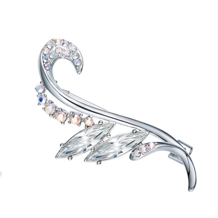 Broche Femme Cristal de Swarovski Element Blanc - Blue Pearls