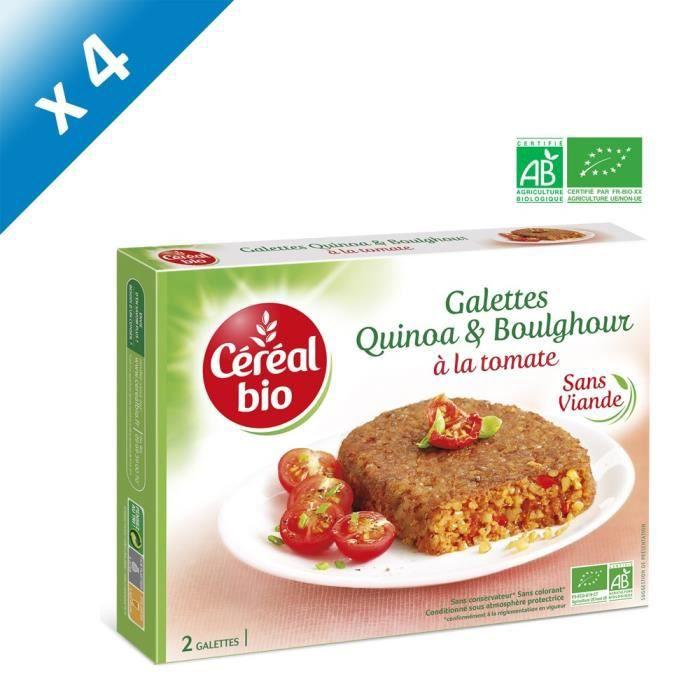 [LOT DE 4] CEREAL BIO Galettes de céréales cuisinées à base de boulghour, de quinoa et de tomate Bio - 200 g