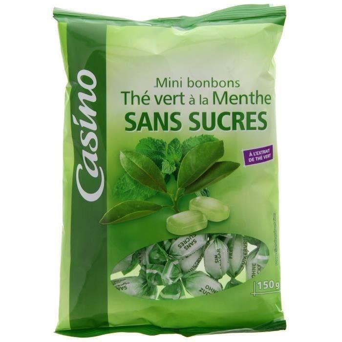 CASINO Mini bonbons Thé vert à la menthe sans sucres - 150 g