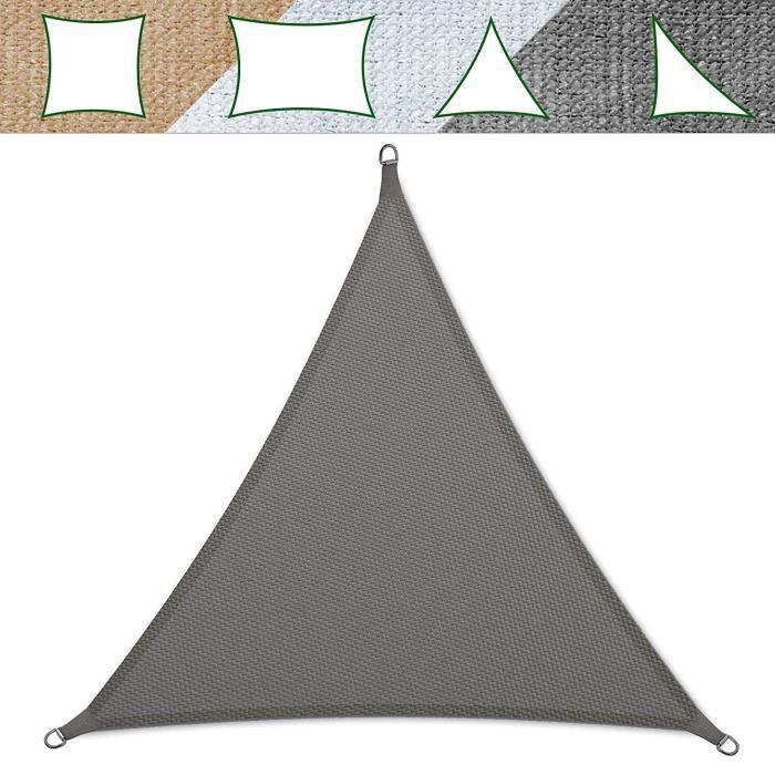 Voile Ombrage 5x5x5 m - Gris - Triangulaire Matériau HDPE Anti-UV - Lavable en Machine - Densité 180g - m² - Toile Tendue
