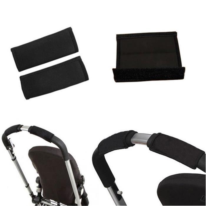 2pcs bébé noir landau poussette chariot avant poignée pare-chocs poussette couverture de bar noir