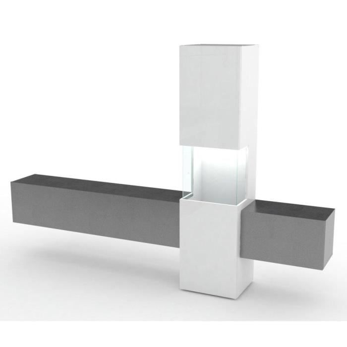 Composition murale TV design WASP marbre noir et blanc laqué noir Bois Inside75
