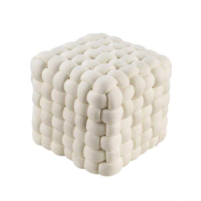 Pouf carré Tina - 27 x 27 x 27 cm - Beige