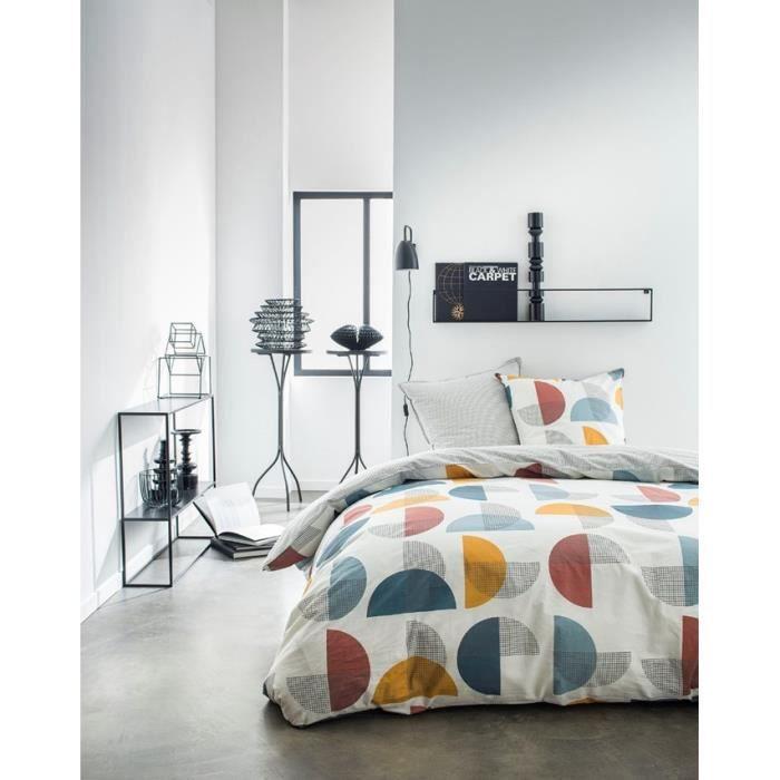 TODAY Parure de couette 220x240 + 2 taies d'oreiller 65x65 cm - 100% Coton - Blanc Graphique SUNSHINE 4.56 TODAY