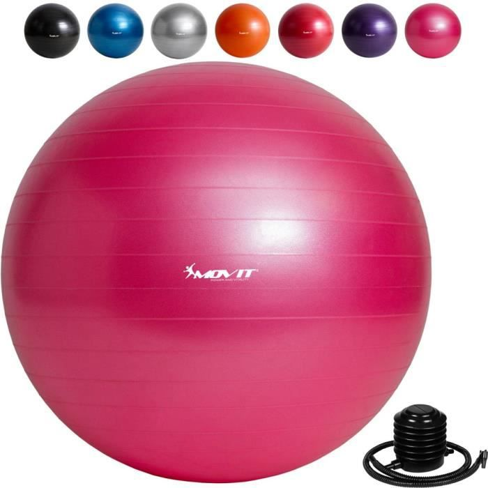MOVIT Balle de gymnastique rose, 85 cm avec pompe