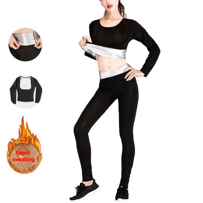 SURENHAP - Pantalon minceur + Tops Fat Burner, sans soutien-gorge, Survêtement de Fitness - Rithok -5a5faf