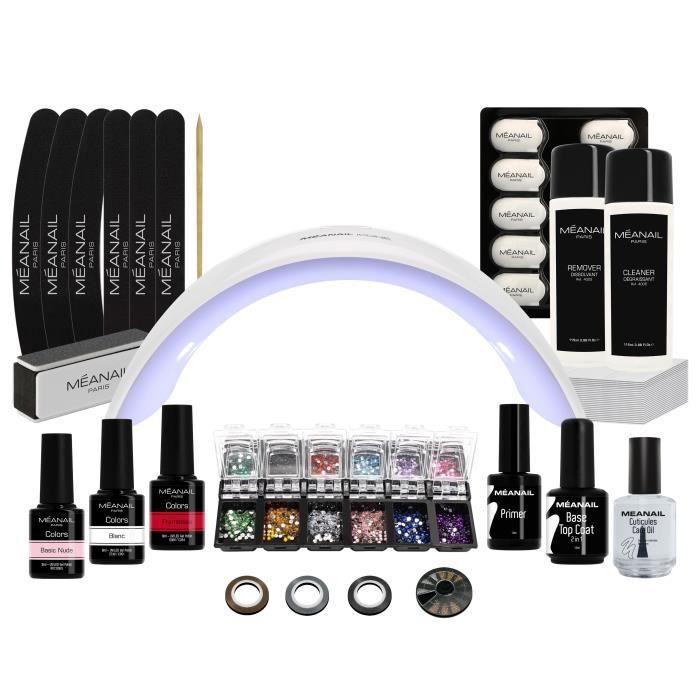 Kit vernis semi-permanent manucure - 3 vernis à ongles, base et top coat 2 en 1, Lampe UV/LED 24W, Nail art - Kit Design XXL