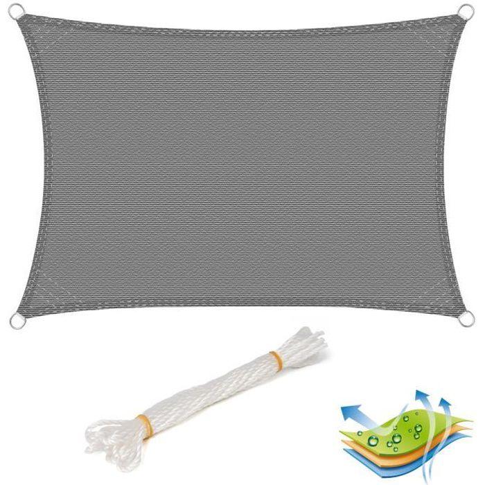 WOLTU Voile d'ombrage rectangulaire en HDPE,protection contre le soleil avec protection UV pour jardin,terrasse ou camping,2x3m Gris