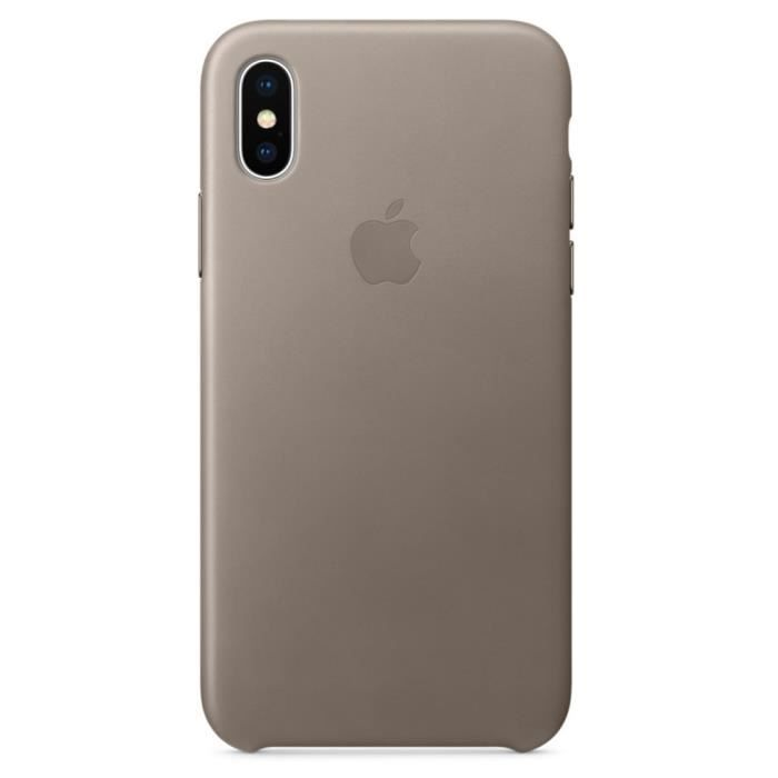 coque cuir apple iphone x xs gris taupe