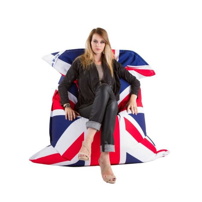 pouf design g ant xxl union jack 170x130x33cm achat vente pouf poire polyester pvc 100. Black Bedroom Furniture Sets. Home Design Ideas