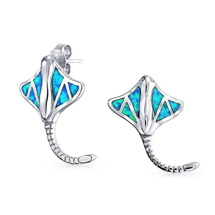 Bling Jewelry Argent 925 bleu Incrustation Opale synthétique Poisson Stingray Stud Earrings