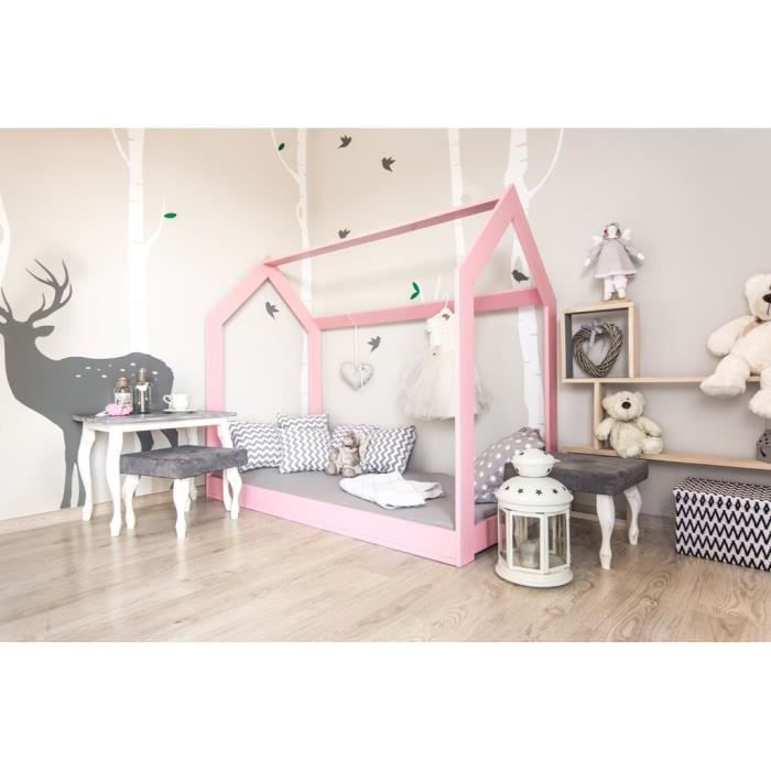 lit cabane maison rose en pin massif 70x140 achat vente structure de lit lit cabane maison. Black Bedroom Furniture Sets. Home Design Ideas