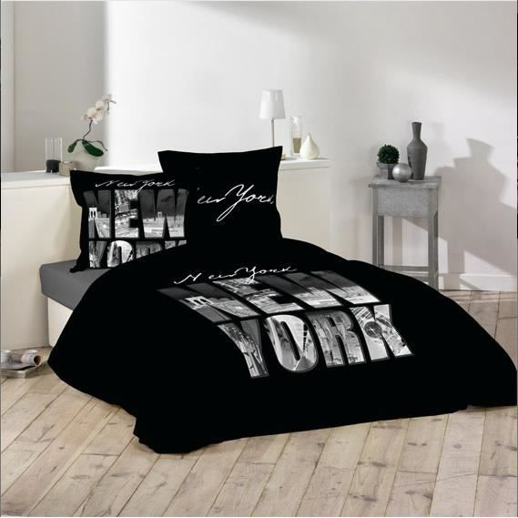 Housse de couette noir new york 100 coton 220 x 240cm for Housse clic clac new york