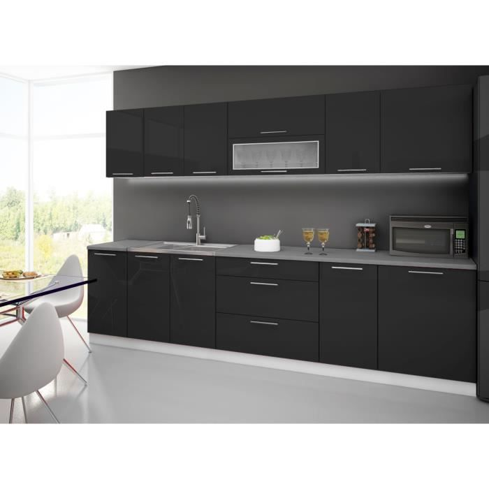 cuisine complete 3m noir fermeture verin achat vente cuisine compl te cuisine complete 3m. Black Bedroom Furniture Sets. Home Design Ideas