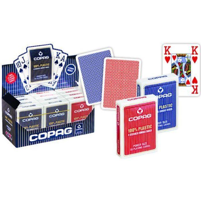 Cartes POKER COPAG 100/% Plastique JUMBO Index 4 Corners  Dos ROUGE