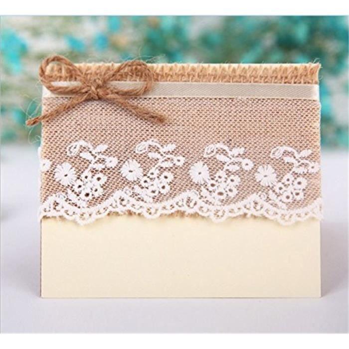10pcs Marque Place Carte de Nom D/écoration de Table Rustique pour Mariage