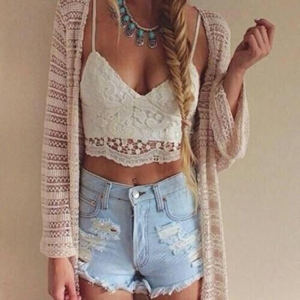 GILET - CARDIGAN poi_Femmes Crochet Tank Camisole Dentelle Gilet Bl