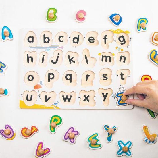 ROBUD See-Inside Alphabet Peg Puzzle Lettres Carr/ées en Bois Jigsaw Board avec Motif Color/é Jouets /éducatifs Jeu pour Enfant en Bas /âge Dancing Number