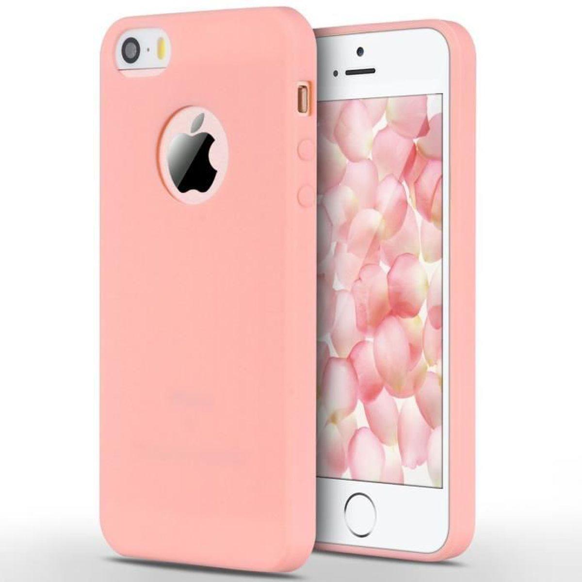 coque silicone souple doux pour iphone se 5s 5 ros