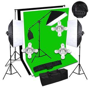 KIT STUDIO PHOTO continu softbox kit toile de fond de jeu stand lum