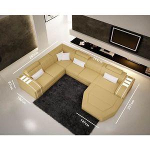 CANAPÉ - SOFA - DIVAN Canapé d'angle panoramique en cuir jaune et blanc