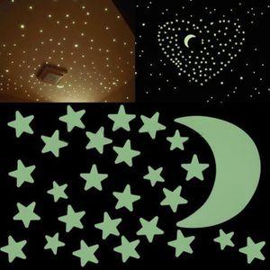 3 Couleurs Nuit-Clair-Sticker Autocollant Mural Enfants 3d Leuchtsterne