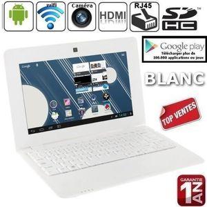 ORDINATEUR ENFANT Netbook Blanc Android 4 HDMI écr.10.1 (Wifi-SDHC)