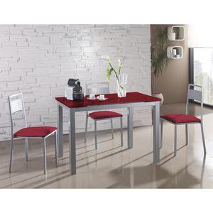 TABLE À MANGER COMPLÈTE Table à manger extensible en métal et verre colori