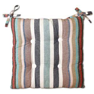 COUSSIN SOLEIL D'OCRE Galette de chaise capitonnée Stripes