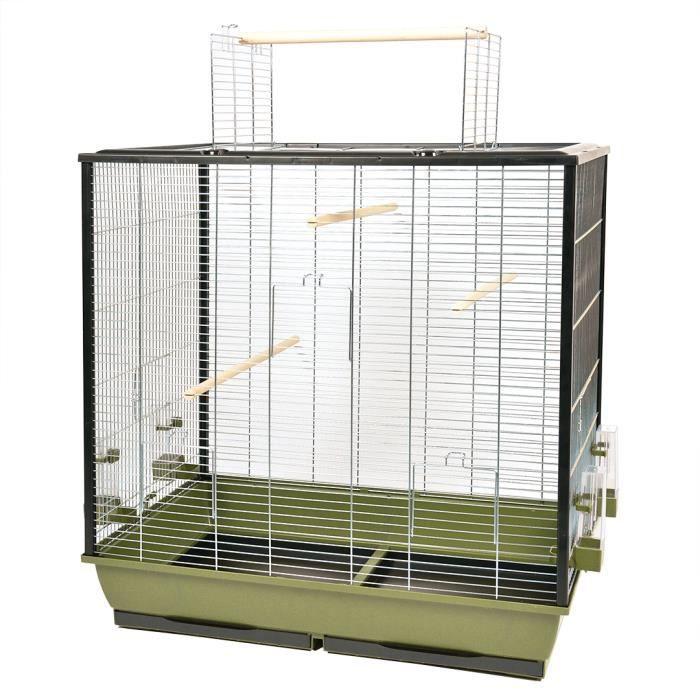 DUVO+ Cage Natural Fiona 78 x 48 x 81,5 cm - 8 kg - Vert olive et zinc - Pour oiseaux