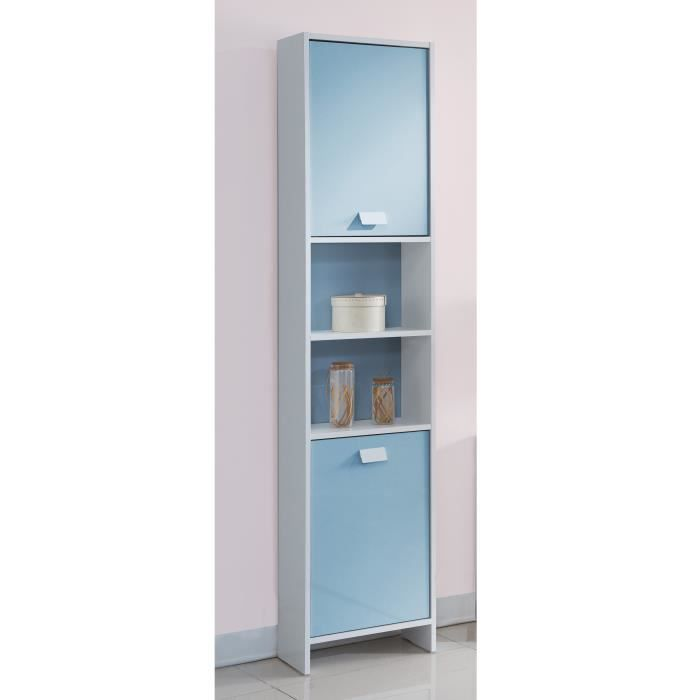 top colonne de salle de bain 40 cm blanc et bleu achat vente colonne armoire sdb top. Black Bedroom Furniture Sets. Home Design Ideas