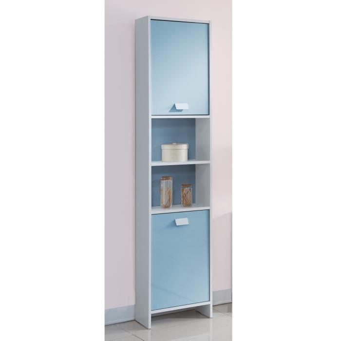 TOP Colonne de salle de bain L 40 cm - Blanc et bleu mat