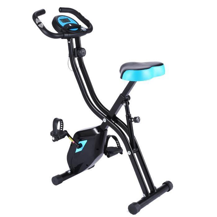 ANCHEER Vélo de Fitness Pliant Vertical Résistance Magnétique À 10 Niveaux, Vélo d'Appartement avec Support pour Tablette/Téléphone